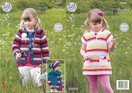 King Cole Girls Big Value Chunky Knitting Pattern Raglan Sleeve Dress Cardigan Hat & Scarf (4382) by King Cole by King Cole