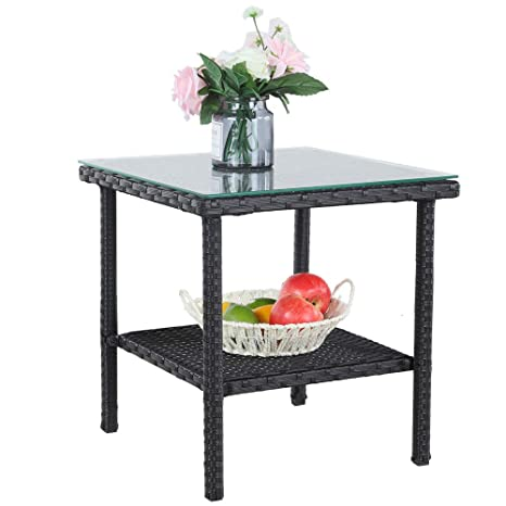 Amazon Com Patio Side Table Outdoor Metal Tables Garden Small