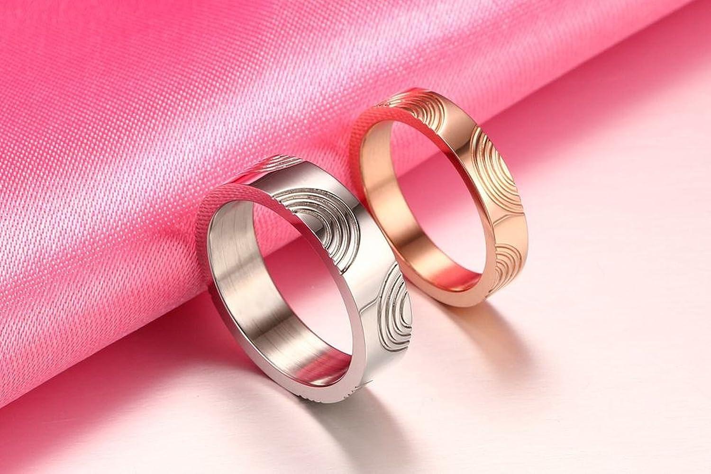Amazon.com: Stainless Steel Fingerprint Engraved Couples Ring for ...