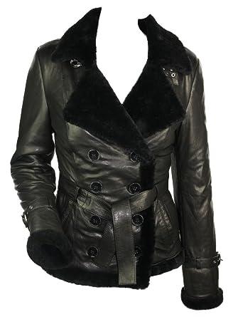 Veste femme cuir noir peau de mouton retournée 100% véritable style Toscan  double veston militaire 1b60a6ce70f
