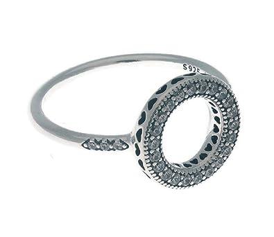 50008efbf Hearts of PANDORA Halo Ring, Clear CZ 191039CZ-48 EU 4.5 US: Amazon.co.uk:  Jewellery