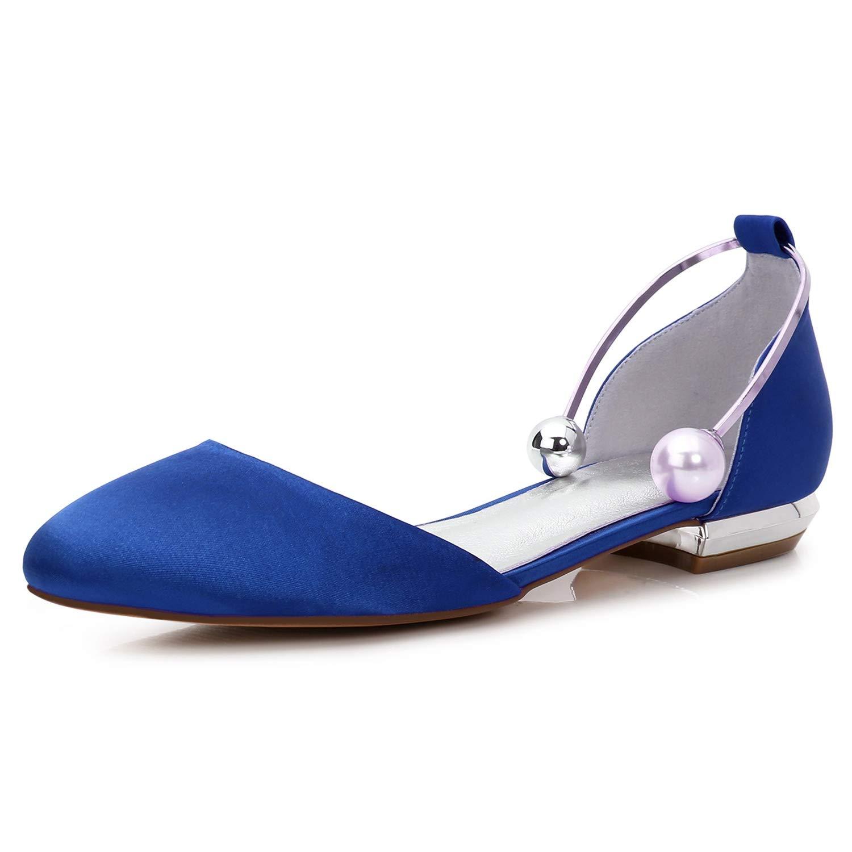 Elobaby Zapatos De Boda De Mujer Sandalias Hechas a Mano con Punta Cerrada Plana Perla Plataforma De SatéN /1.5cm TalóN / FR504 42 EU|Blue