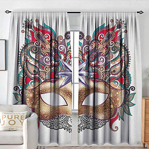 (Blackou Curtains Mardi Gras,Venetian Carnival Mask Silhouette with Ornamental Elements Masquerade Costume, Multicolor,Wide Blackout Curtains, Keep Warm Draperies,Set of 2 Panels 54