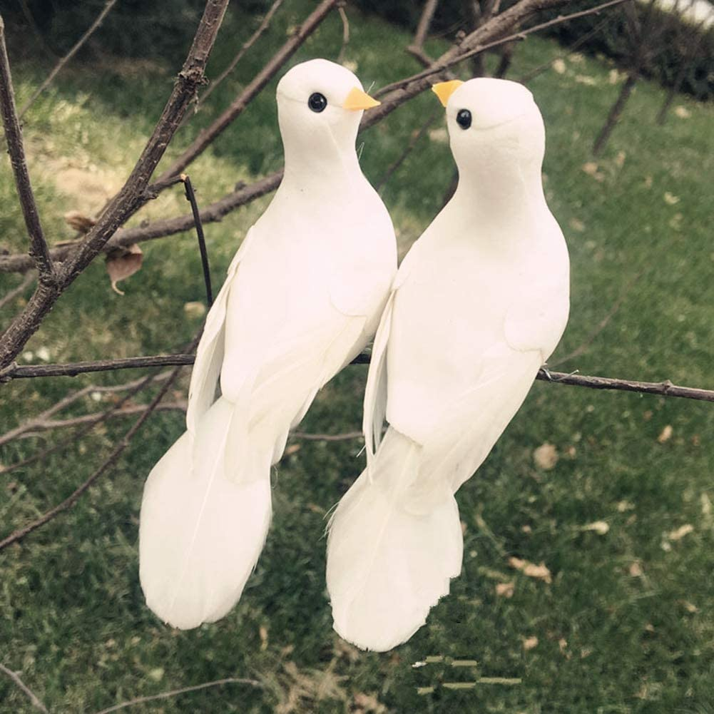LWINGFLYER 2pcs Artificial Simulation Foam Birds with Claw White Feather Dove Ornaments DIY Craft for Wedding Decoration Party Accessories 13cm/5.11inch