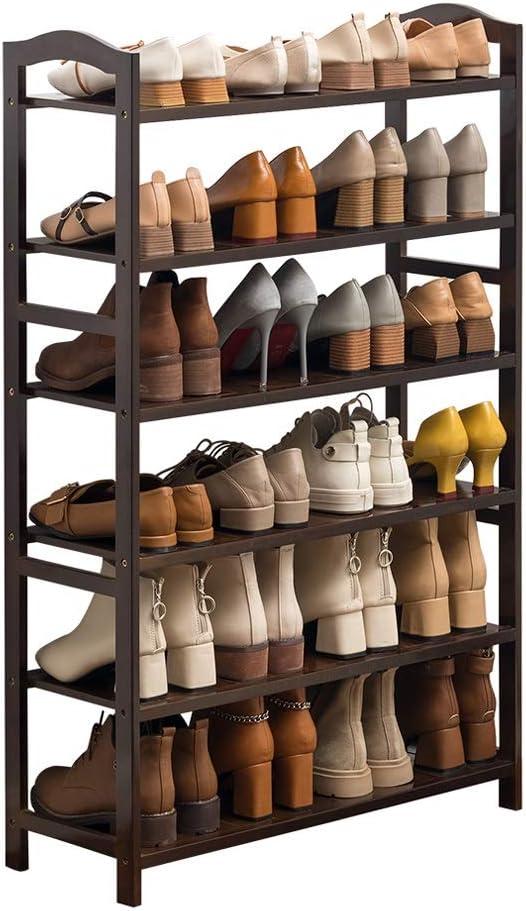 Organizador para Zapatos Estante for zapatos de bambú de 6 pisos Estante for calzado económico simple 70 cm de largo × 25 cm de ancho × 108 cm de alto Puede acomodar 24 pares for pasillos / baño / jar