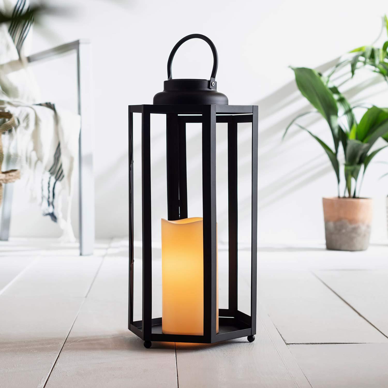 Lights4fun Sechseckige LED Solar Laterne Gartendeko schwarz 46cm