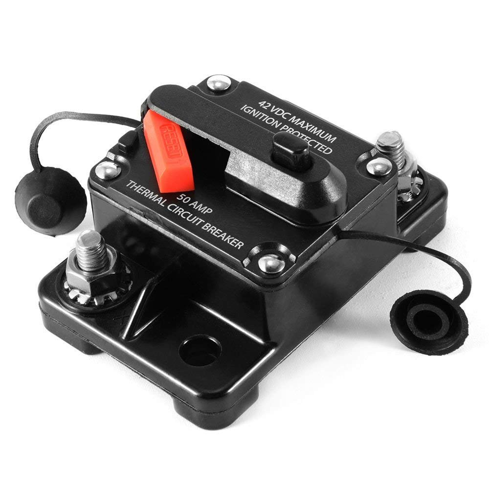 12V/24V/42V DC Circuit Breaker Trolling Motor Auto Car Marine Boat Bike Stereo Audio Inline Fuse Inverter Waterproof with Manual Reset 80A 80Amp