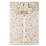 Doris Home Laser Cut Wedding Invitation Cards with Butterfly Cardstock Used for Engagement Wedding Bridal Shower,50pcs, (50, beige)