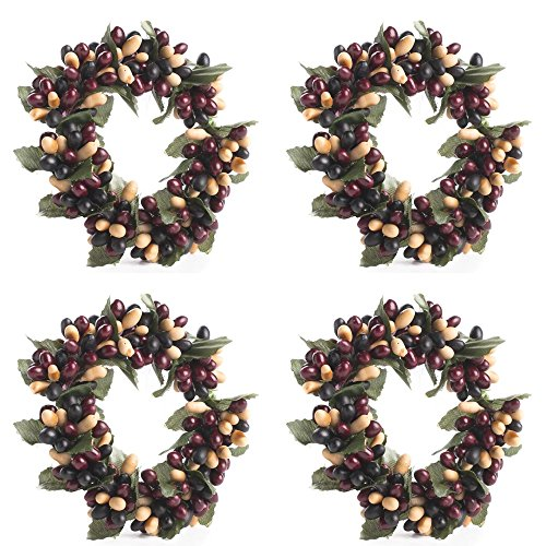 Cranberry Wreath - Factory Direct Craft Set of 4 Rich Cranberry, Black, and Cream Pip Berry Mini Candle or Napkin Rings