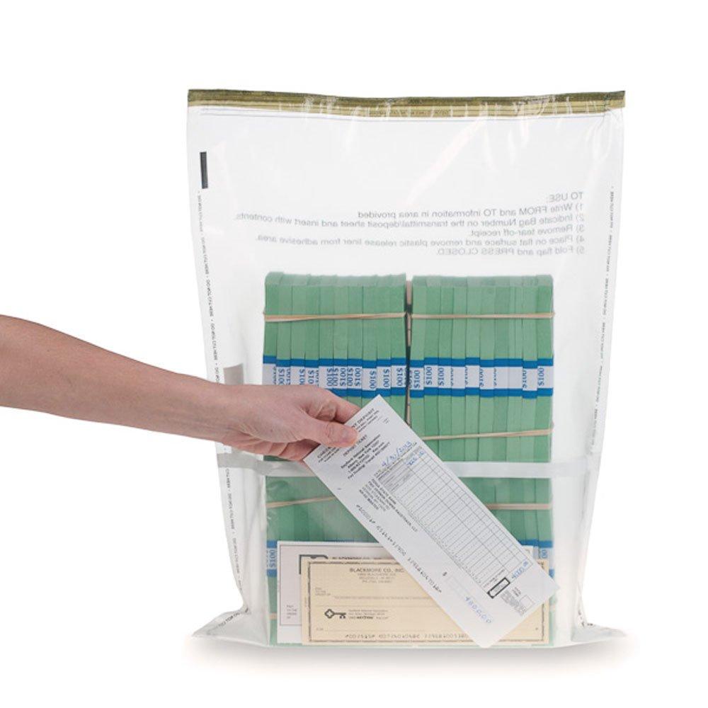 15W x 20H Clear Deposit Bags w/External Pocket - 100/Bx