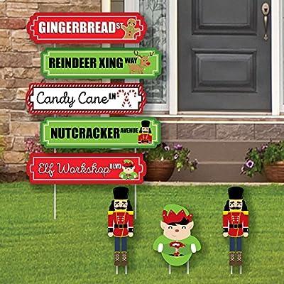 Christmas Street Sign Cutouts - Holiday & Christmas Yard Signs & Decorations - Set of 8
