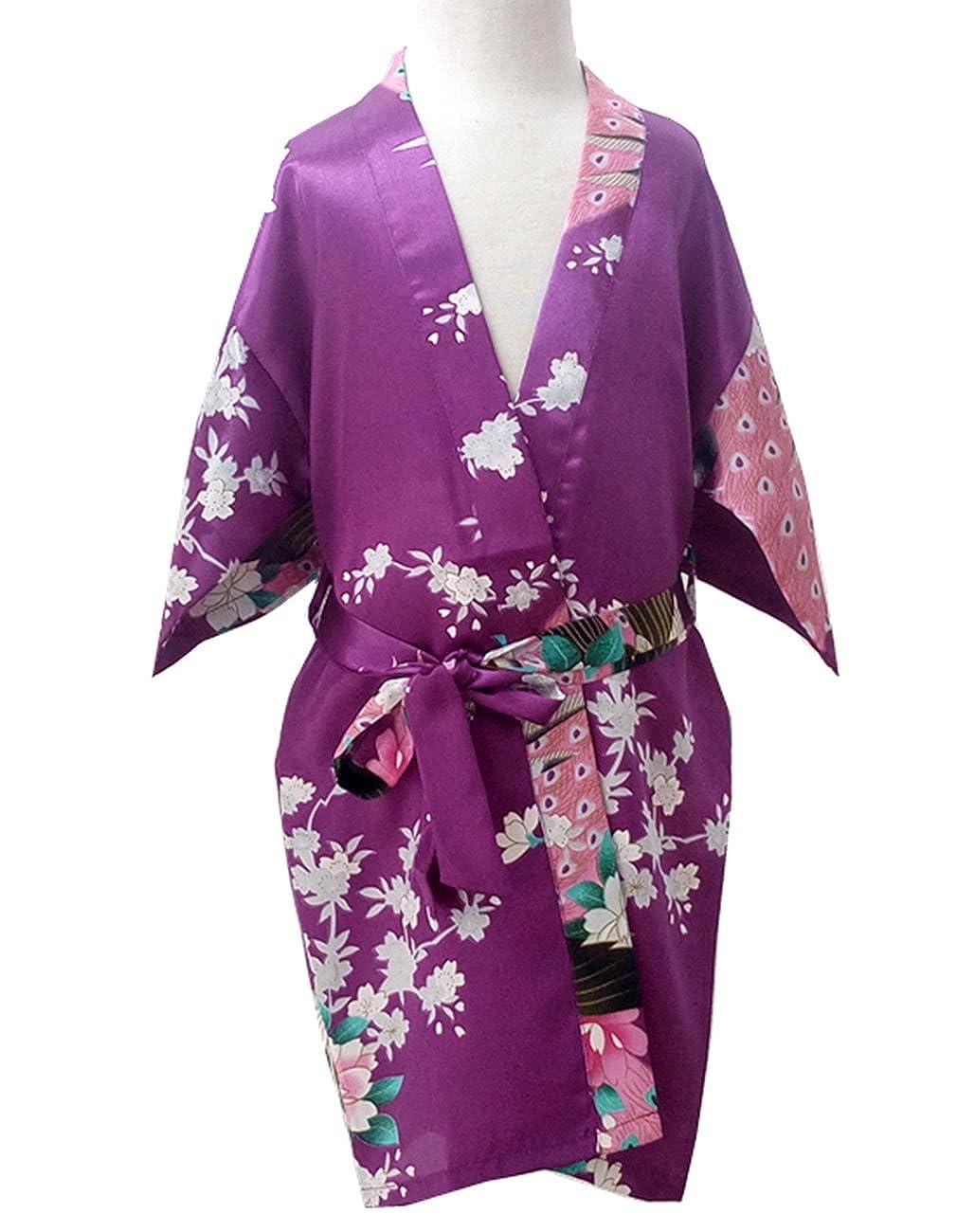 Opkelana Girls Stain Silk Kimono Peacock and Blossoms Sleepwear Robe Bathrobe