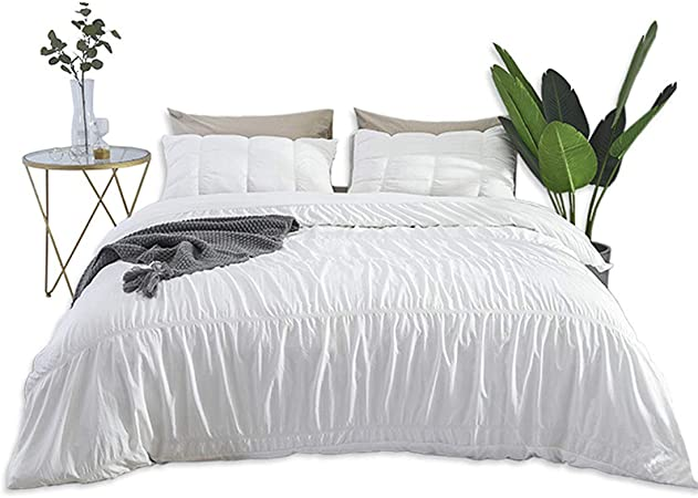 Grey Duvet Covers Seersucker Ruched Stripe Silver Easy Care Quilt Bedding Sets