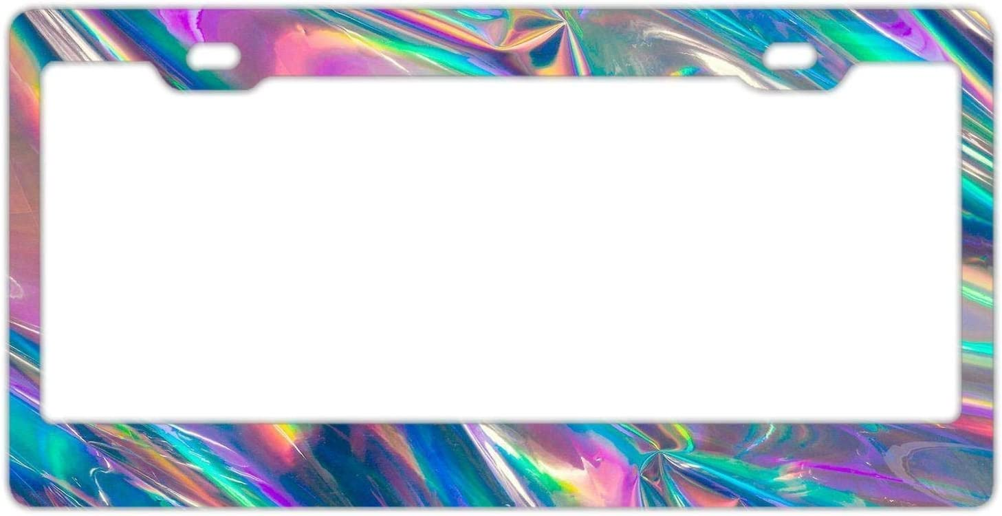 Custom Holographic Car License Plate Cover Holder for US Vehicles Hopess Auto Decorative Frames Black Aluminum Metal License Plate Frame for Women//Men