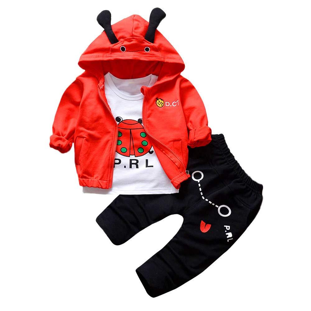 Vovotrade 3PCS Kids Boys Girls Outfits Set Long Sleeve Jacket Coat +Printed Blouse +Pants(Red,80)