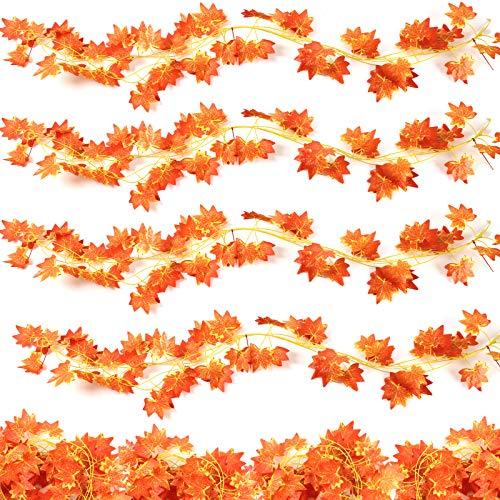 VGOODALL 16 Stück Künstliche Ahornblatt Girlande, Künstliche Herbst Dekorationen Unechte Herbstlaub für Garten Hochzeit Party Wanddekoration Hänge Kamin Dekoration