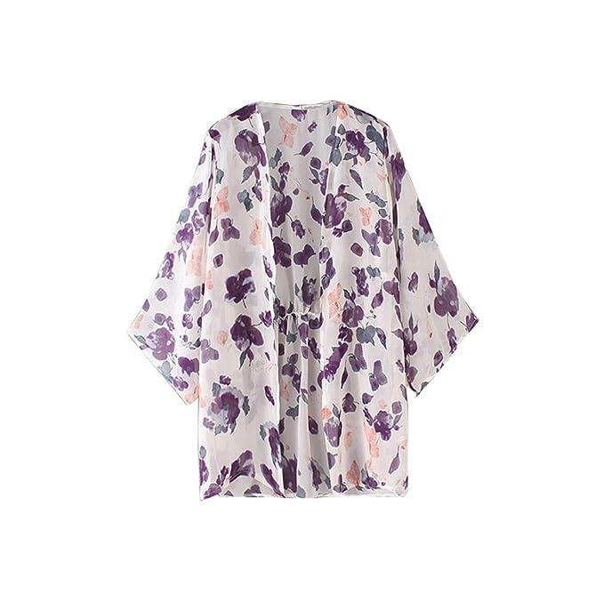baonoop mujeres floral impreso tela de chifón de seda Boho chal kimono Cardigan playa Cover Up