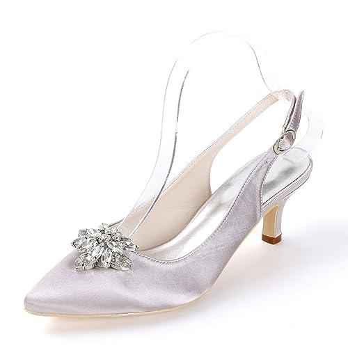 Elobaby Mujer Zapatos de Boda Cerrada Plataforma Punta Cerrada Boda Súper Hecho a b72675