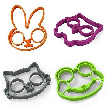 Aisence Animal - Moldes de silicona antiadherente para huevos fritos, panqueques, anillos, creativo (verde) 1 unidad: Amazon.es: Hogar
