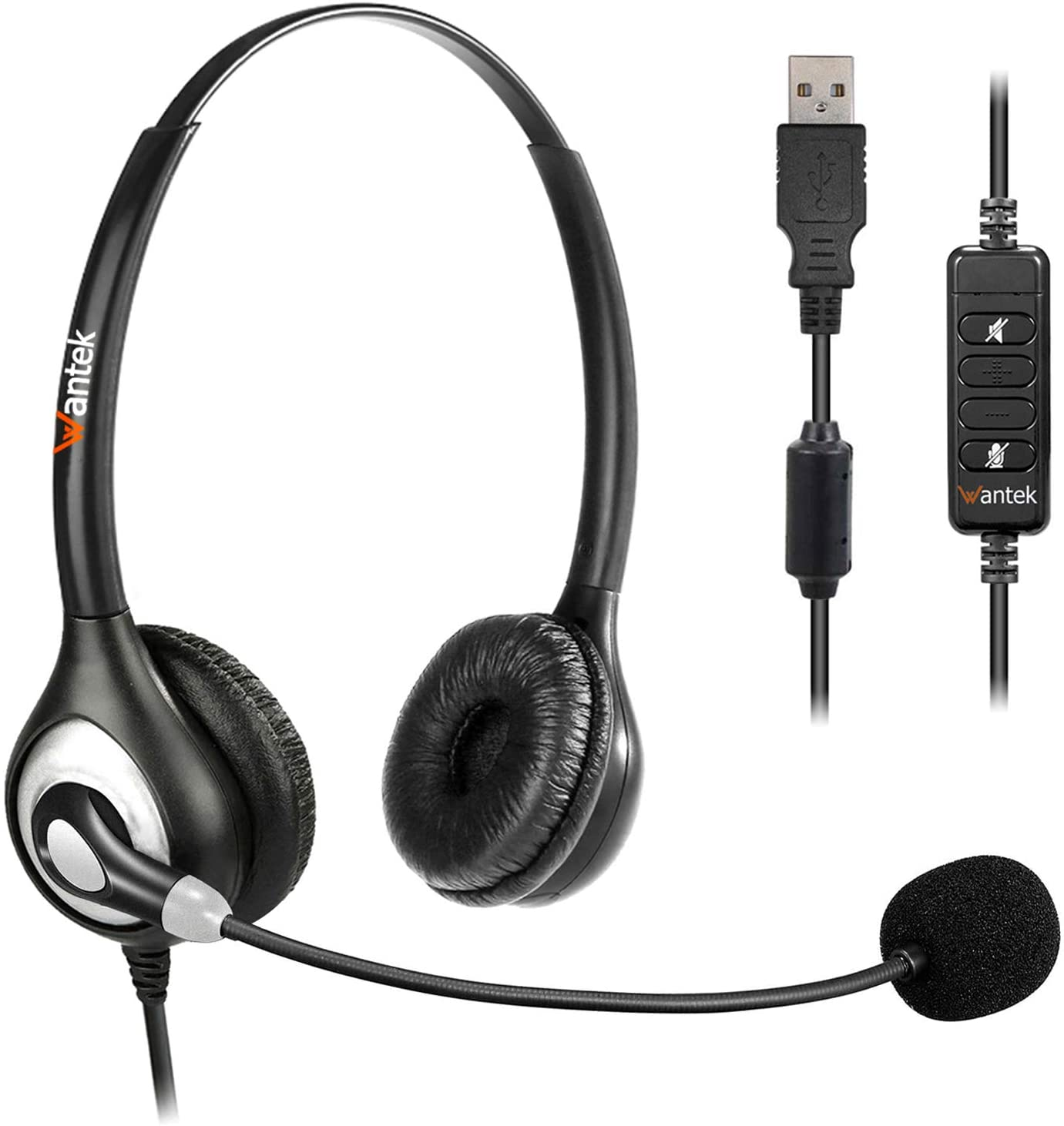 USB Headset with Microphone Noise Cancelling & in-line Controls, Wantek Office Computer Headphones for Laptop PC Call Center Business Skype Zoom SoftPhone, Clear Chat, Ultra Comfort