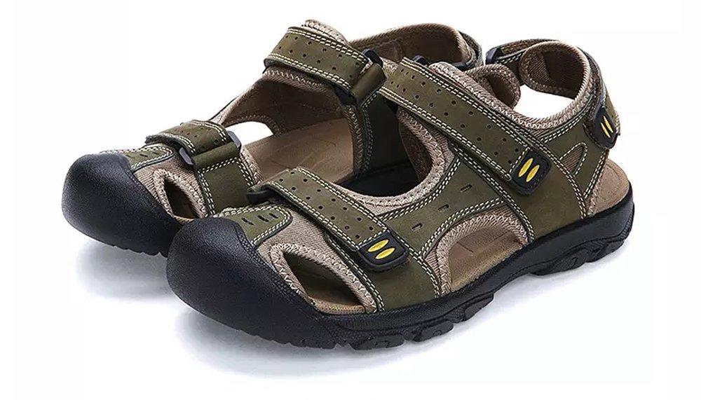 Asifn Athletic Slides Sandals Sport Men's Summer Beach Leather Hiking Closed Toe Anti Collision Travel