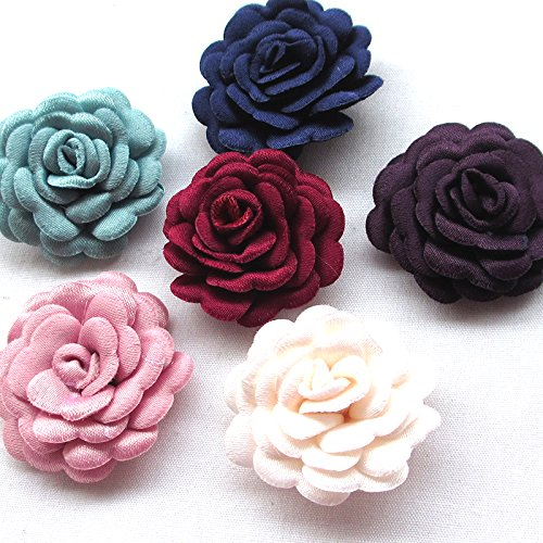 Chenkou Craft Felt Padded Ribbon Flowers Bows Peony Appliques Craft Supplies (Felt Flowers)