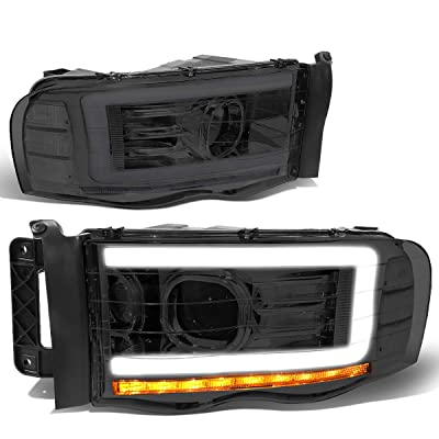 DNA MOTORING Smoked/Clear HL-LB-DR02-SM-CL1 Pair LED DRL Projector Headlight Lamp Replacement: Automotive