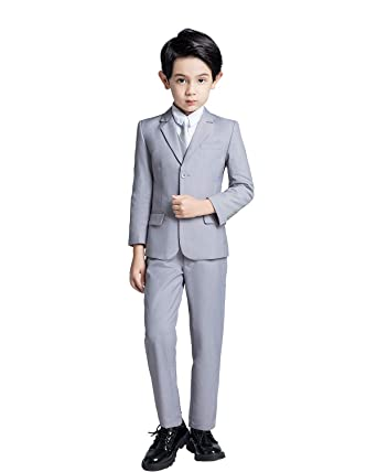 b62d198cf56bc YuanLu Boys Gray Suits Kids Solid Suit and Tie Formal Outfit Clothes Size 2T