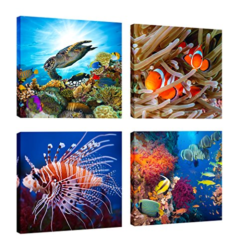 FASKUNOIE-Undersea Canvas Print Beautiful Underwater Ocean Lionfish Clownfish Sea Turtle and Coral Canvas Picture Modern Home Decoration Artwork set of 3,Each piece 12