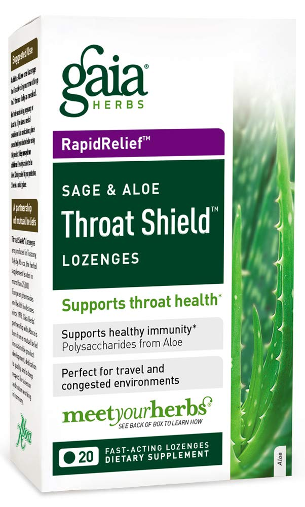 Gaia Herbs Sage & Aloe Throat Shield Lozenges, 20 Count (Pack of 2) - Supports Immunity & Inflammatory Response, Hydrating