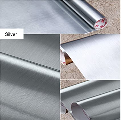 Superbe Brushed Metal Silver Contact Paper Film Vinyl Self Adhesive Backing  Waterproof Metallic Gloss Shelf Liner Peel