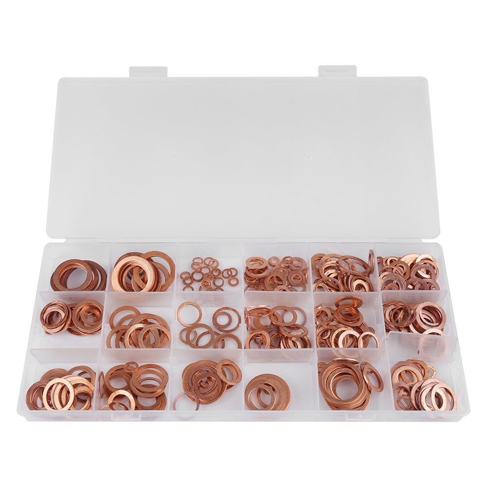 Akozon Sump Plug Washers 395pcs Solid Copper Flat Ring Washers Sump Plug Assortment 18 Sizes Kit with Box