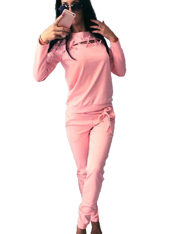 CNlinkco Two-Piece Jumpsuit, Women Long Sleeve Sportswear Tracksuit Sets Tops With Sweatpants