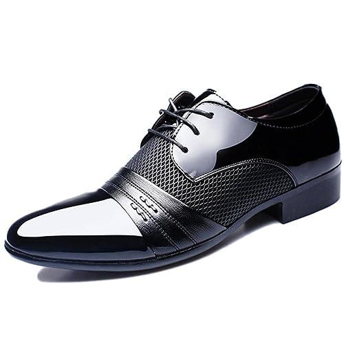 04e1740ebca24 Zapatos De Vestir De Cuero Marrón para Niños Derby Zapatos De Vestir De  Negocios con Cordones En La Noche Zapatos De Hombre Extragrandes   Amazon.es  Zapatos ...