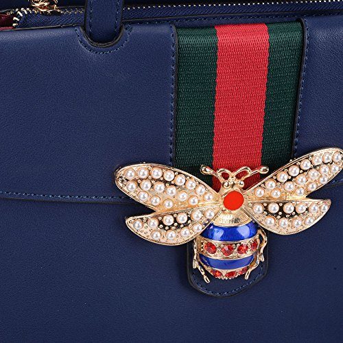 Bag Shoulder Flap Envelope Leather Cross Blue Bumble Embellished With Faux Bee Evening Gossip Inspired Designer Clasp Strap Body Girl Motif 0wWS48xgF