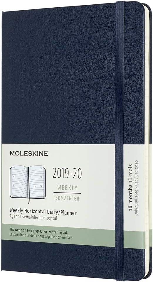 Moleskine - Agenda Semanal Horizontal de 18 Meses 2019/2020, Calendario Académico con Tapa Dura y Goma Elástica, Color Azul Zafiro, Tamaño Grande 13 x 21 cm, 208 Páginas (AGENDAS 18 MOIS)