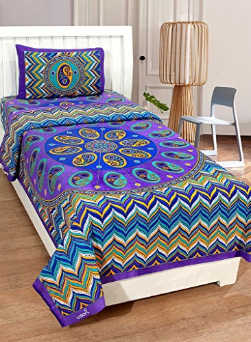 Super India Traditional Single Bedsheet With One Pillow Cover – Blue