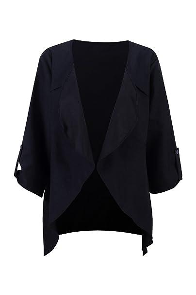 Beauty7 Abrigos de Mujer Otoño Invierno Primavera con Cuello Suelto Desigual 3/4 Mangas Coat