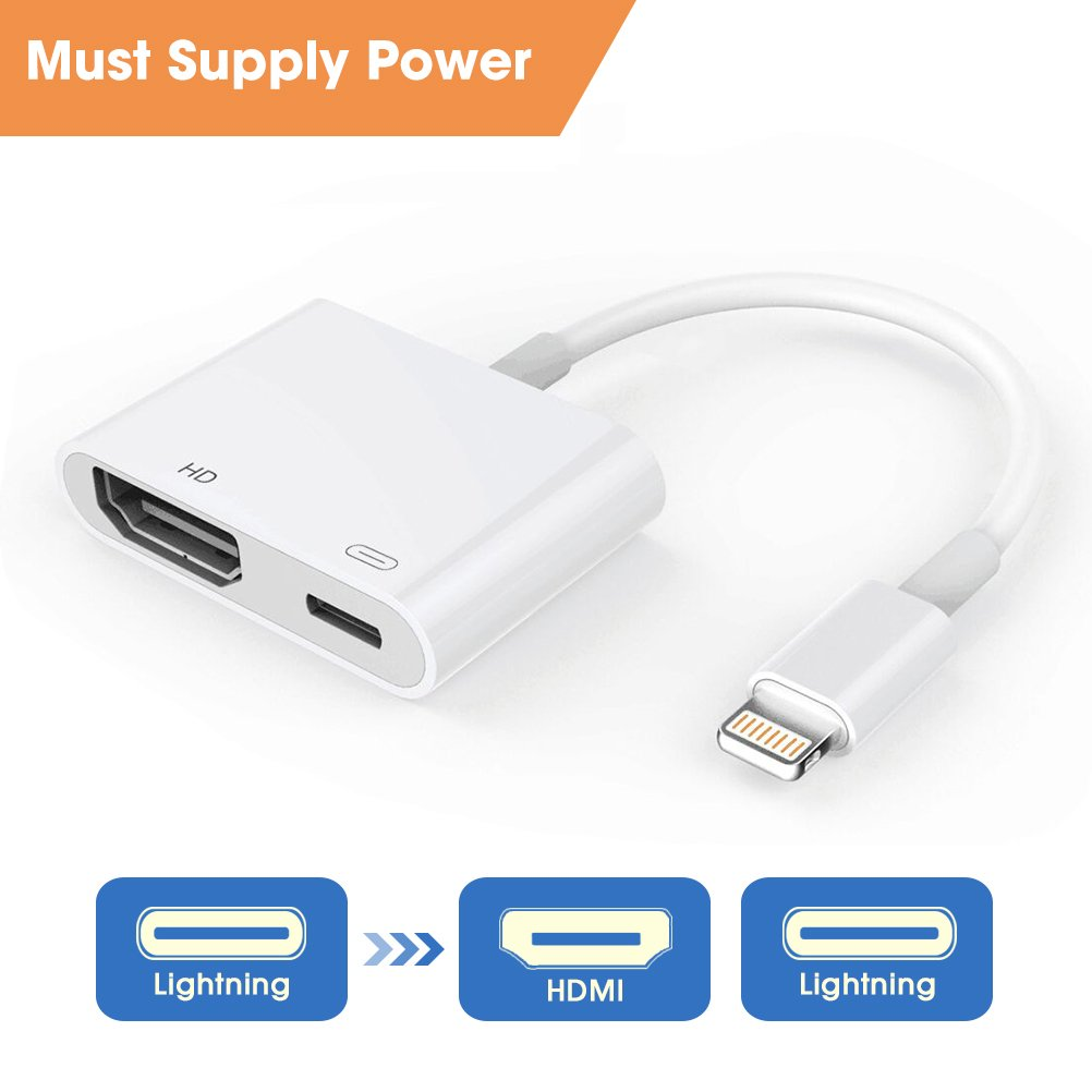 Lightning to HDMI, Lightning HDMI Cable Adapter, 1080P Lightning HDMI Digital AV Adapter, HDMI Sync Screen Converter with Charging Port for iPhone & iPad, Must Supply Power, Plug & Play