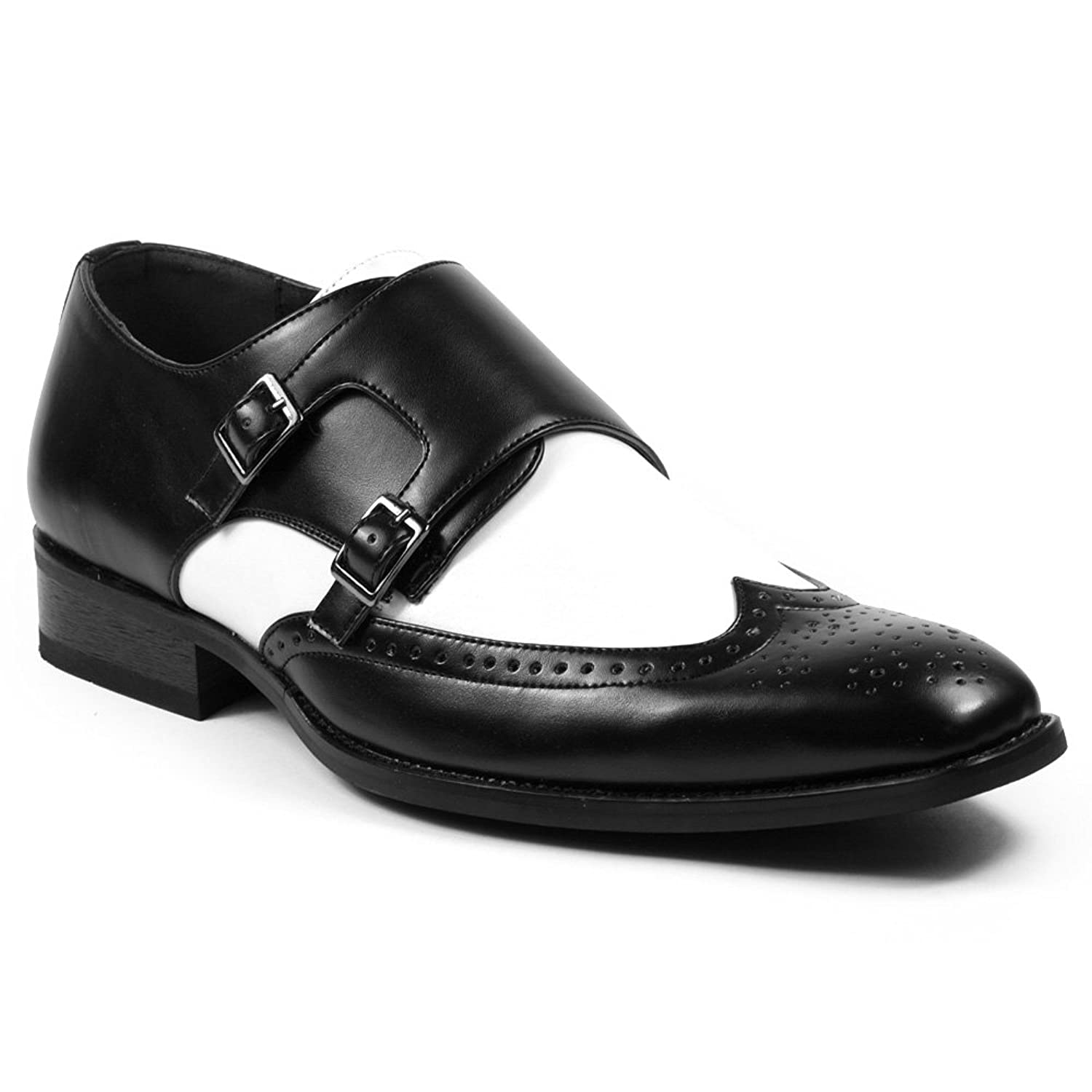 UV Signature PA003 Men's Perforated Wing Tip Double Monk Strap Dress Shoes