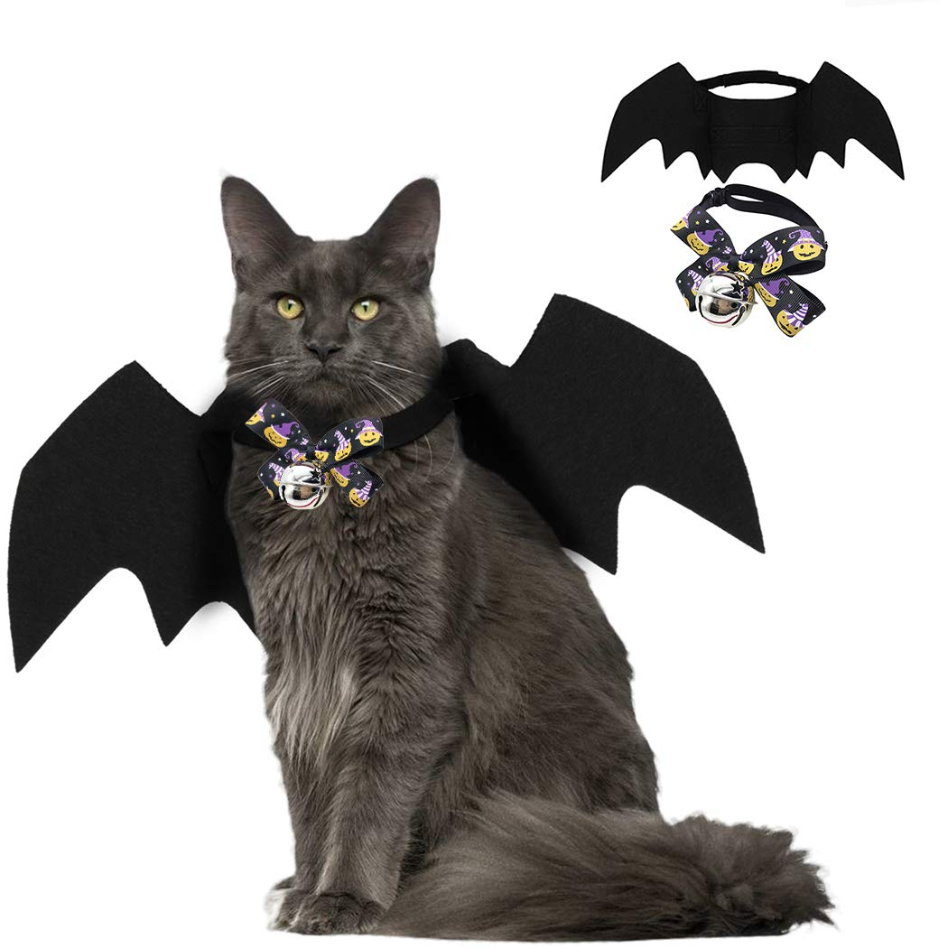 Fansport Pet Bat Wings Costume for Halloween, Cat Dog Bat Costume Puppy Collar Leads Cosplay Bat Costume with Pet Bowtie for Halloween Party