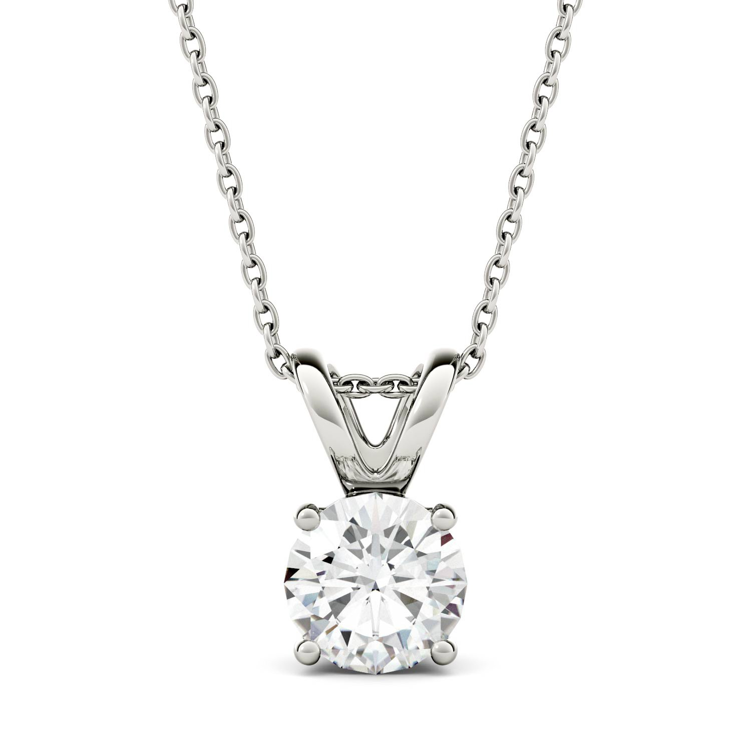 Forever One Round 6.5mm Moissanite Pendant Necklace, 1.00ct DEW (D-E-F) By Charles & Colvard