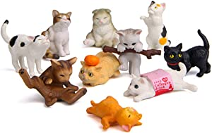 10 Pcs Deluxe Cat Figurines Playset, Cute Cat Figures, Mini Cat Figure Collection Playset, Cupcake Topper