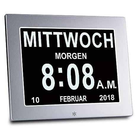 """OLDTIME® 8 """" De Alarma Reloj - Reloj Calendario Reloj Alzheimer ,EspañOl Reloj"""