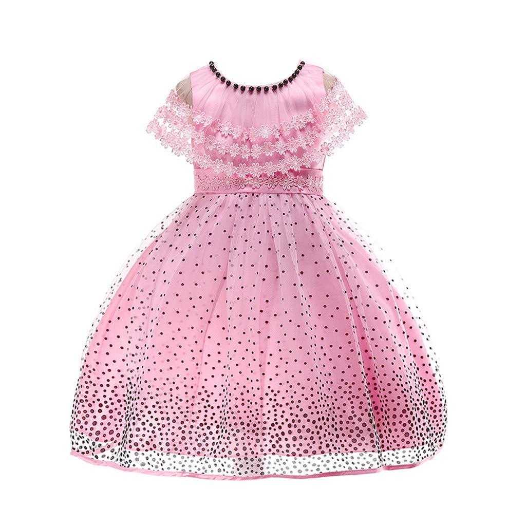 feiXIANG Bebé recién Nacido Ropa para niña Vestido de niña Vestido de Encaje con Estampado de Lunares Vestido de Princesa Tutu Fiesta de cumpleaños Vestido ...
