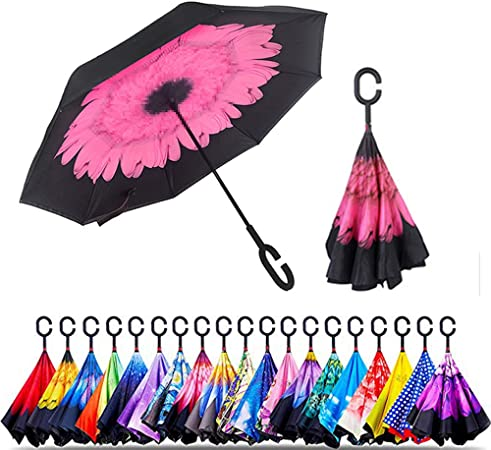 Double Layer Inverted Inverted Umbrella Is Light And Sturdy Momo Peach Flower Blossom On Reverse Umbrella And Windproof Umbrella Edge Night Reflectio