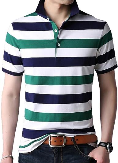 RENHONG Hombres Azul Negro Blanco Amarillo Rojo Verde Raya Camiseta Verano Flojo Negocios Solapa De Gran Tamaño De Manga Corta Algodón Moda Casual Tops POLO Camisa,F-XL: Amazon.es: Ropa y accesorios