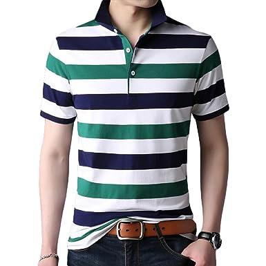 fac23d3324e591 Männer Blau Schwarz Weiß Gelb Rot Grün Streifen T-Shirt Sommer Lose  Business Revers Große