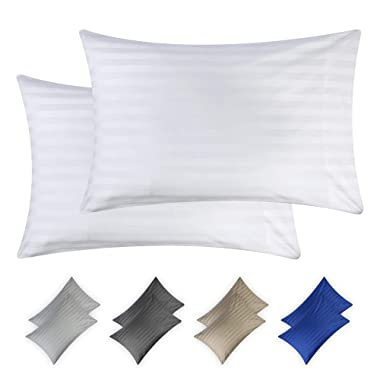 California Design Den Best Hotel Quality Pillow Covers 500 Thread Count White Dobby Damask Stripe King Size Long-Staple Cotton Pillowcases for Bed Pillows for Sleeping