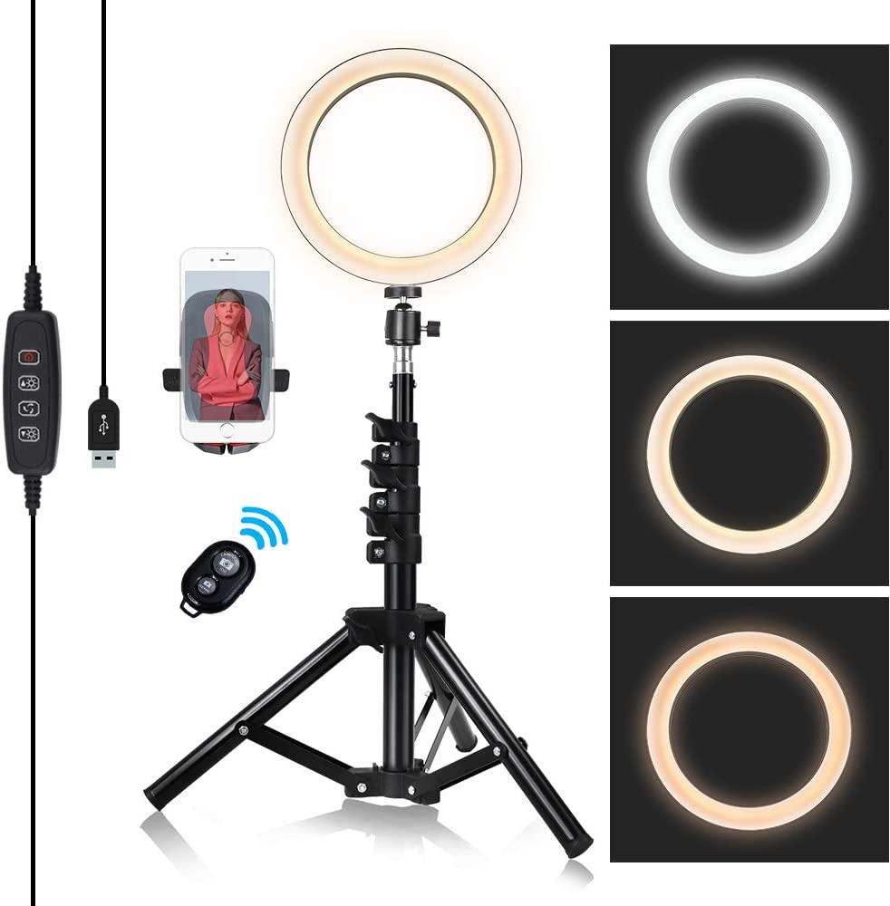 8-inch Ring Light with Stand Adjustable [15-47 inches],Dimmable Camera Lights with Cell Phone Holder for YouTube Makeup Video,3 Color Settings - White,Warm,Yellow